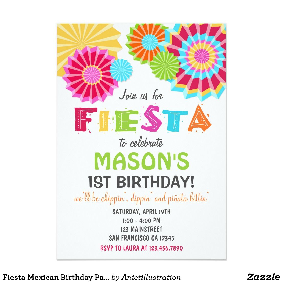 Fiesta Mexican Birthday Party Invitation   Mexican birthday parties ...