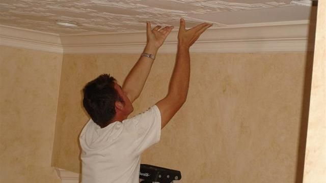 How To Install Decorative Ceiling Tiles Or Cover Popcorn Ceiling ...