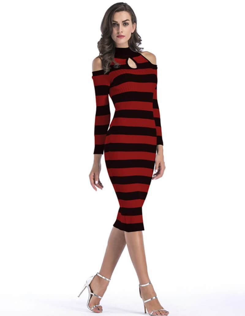 df7e407eb82ff Long Sleeve Cold Shoulder Stripe Knitted Sweater Jumper Midi Dress ...