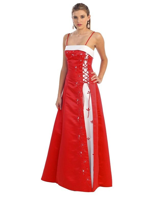 Red And White Junior Prom Graduation Plus Size Prom Dresses Unique