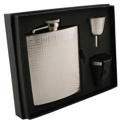 Visol Products Domino Stainless Steel Deluxe Flask Gift Set