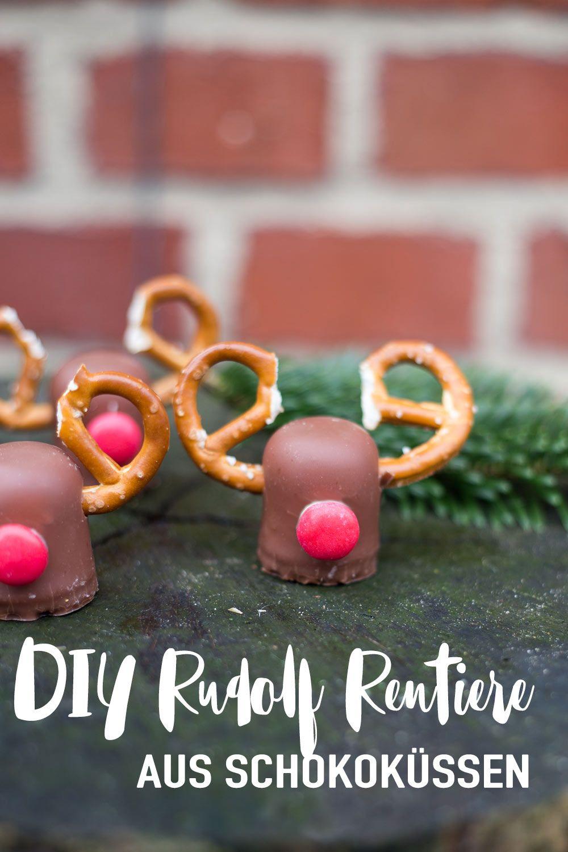 DIY Weihnachtsdeko - Rudolf Rentiere aus Schokoküssen - DIY Tischdeko