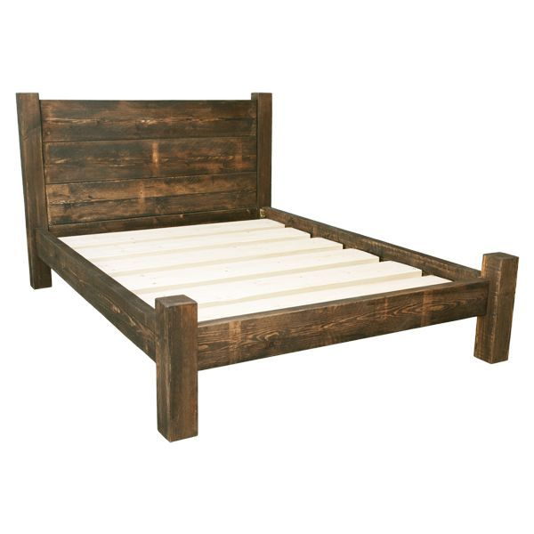 Treble Plank Headboard Bed Frame Handmade Wooden Bed Frames Wood Bed Frame King Wood Platform In 2020 Rustic Bed Frame Wooden Bed Frames Rustic Bedroom Furniture