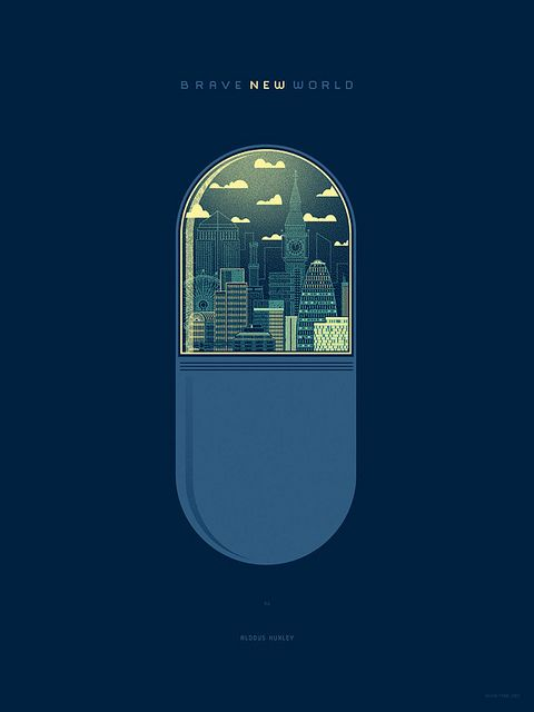 Brave New World by Aldous Huxley - Print by Kevin Tong Illustration, via Flickr