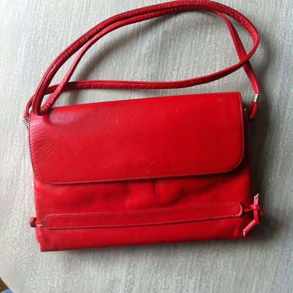1980s Womens Red Leather Purse Cross Body Bag Mimo Sacs Toronto Magnetic Snap Closure
