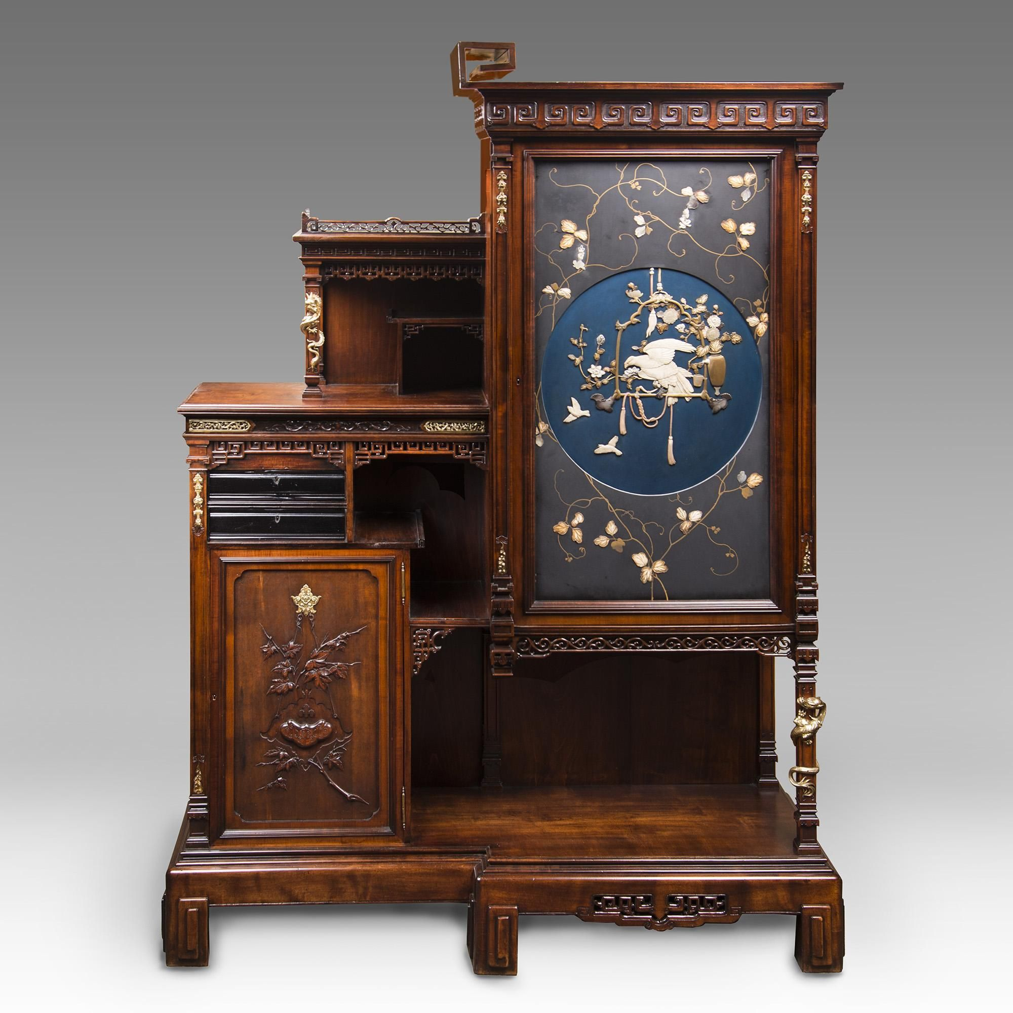 Meubles Asiatiques Anciens 1890 S Rare French Gabriel Viardot Cabinet In The Japonaise Manner