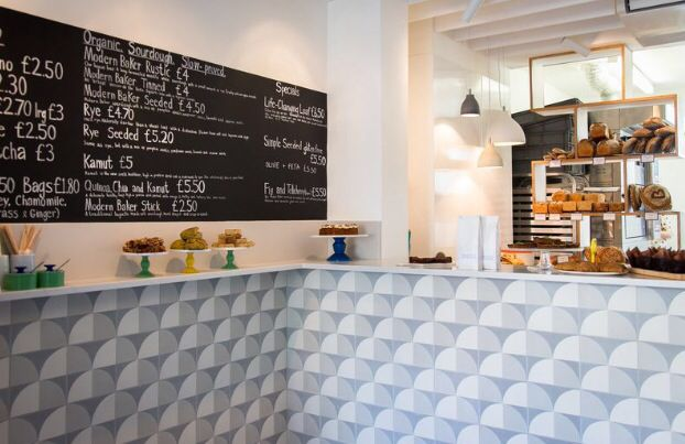 Newly installed Grey Scallop tiles in Modern Baker, an organic bakery in Oxford