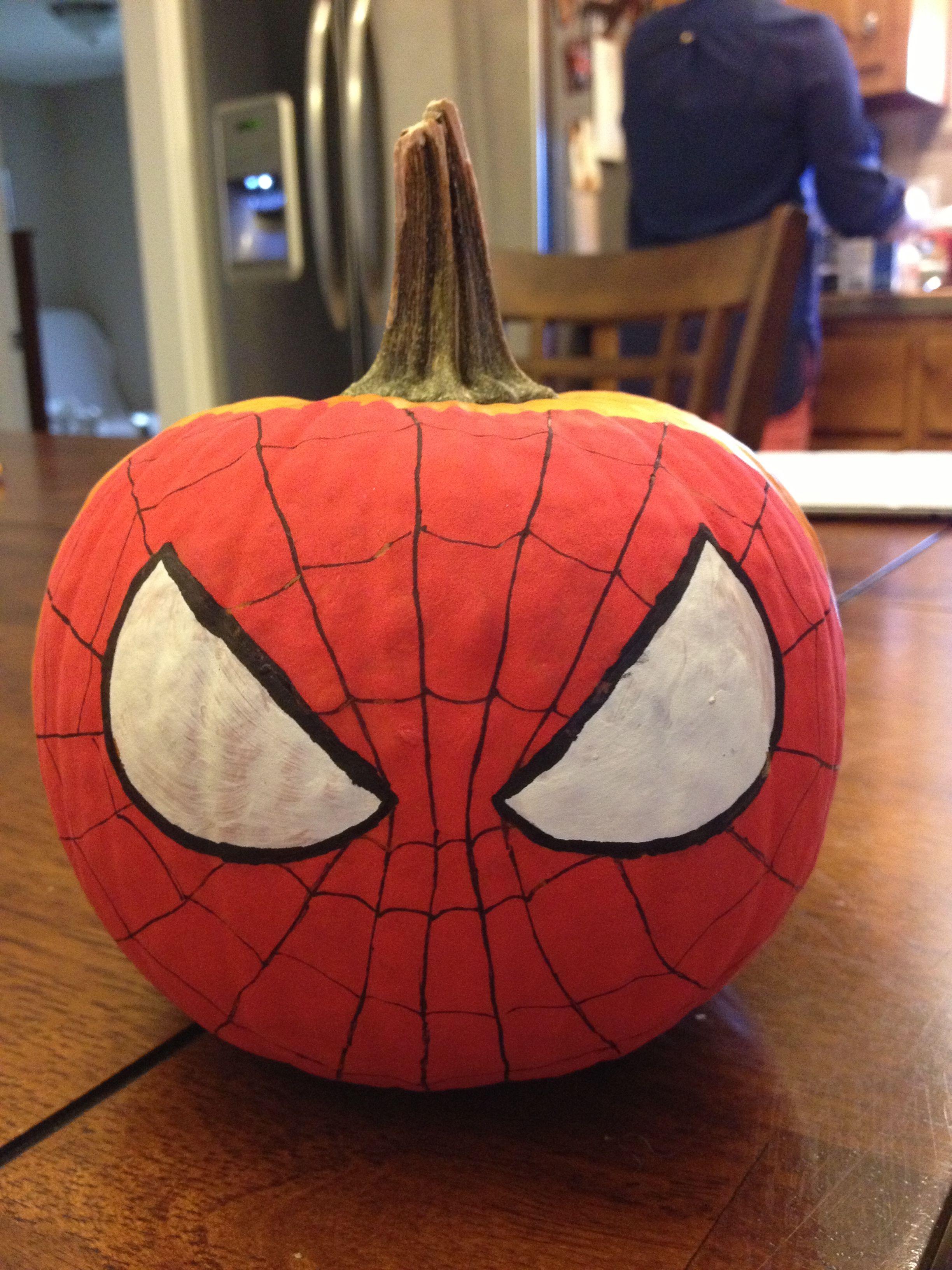 Harper's Spiderman pumpkin | Spiderman pumpkin, Halloween pumpkins ...