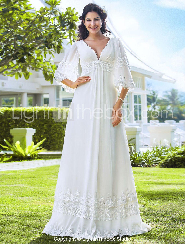 Petite dresses with sleeves for weddings  LAN TING BRIDE Sheath  Column Wedding Dress  Classic u Timeless