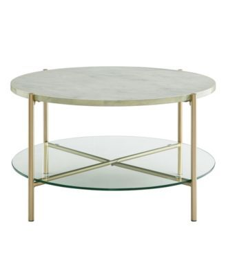 32 Inch Round Coffee Table In White Faux Marble With Gl Shelf And Gold Legs