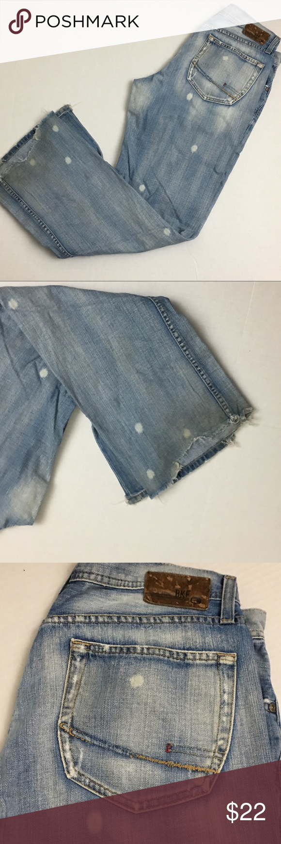 Men's BKE Distressed Paint splattered Jeans Significant wear to the back bottom leg hem. See pictures. No marks or stains. BKE Jeans