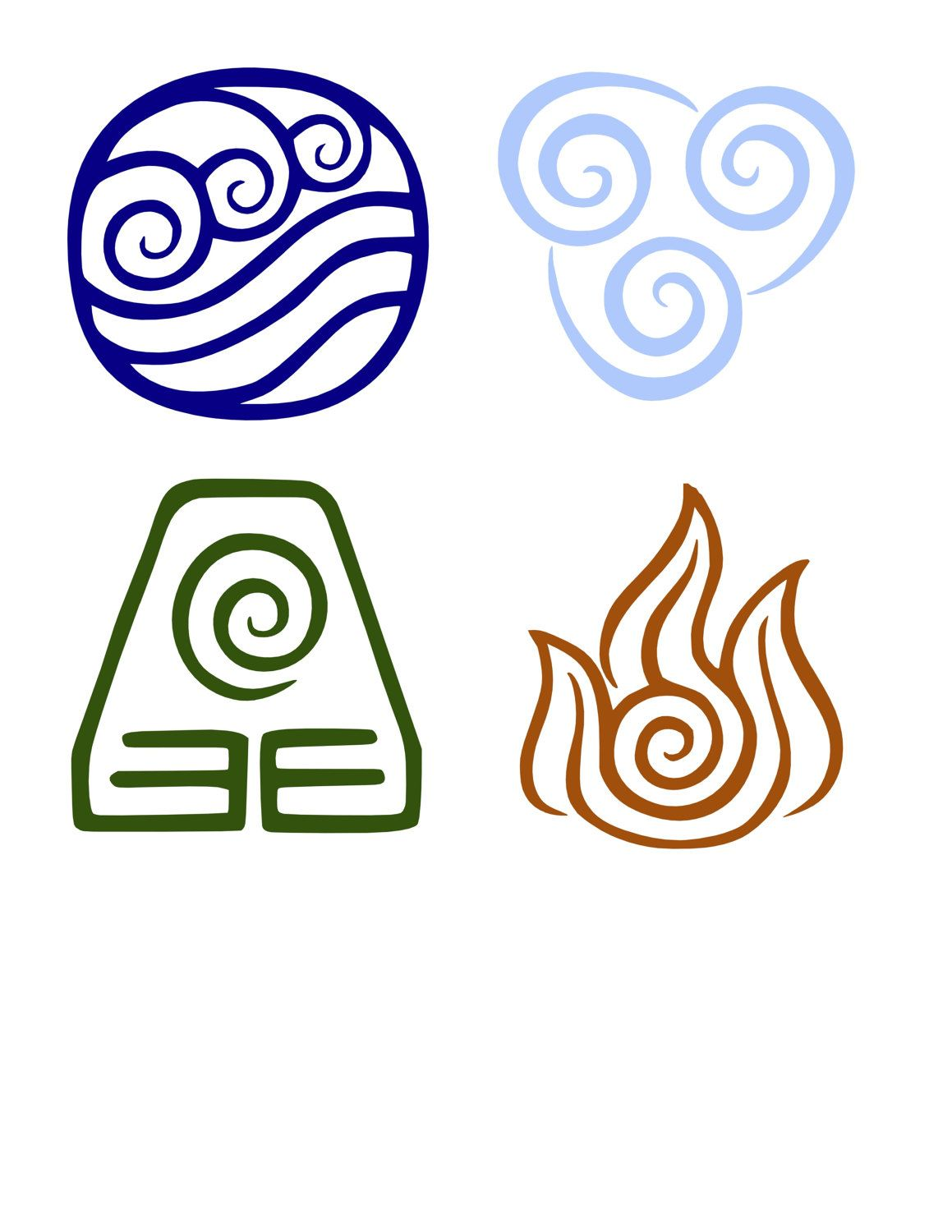 Avatar the last airbender the four elements avatar decal water earth fire air