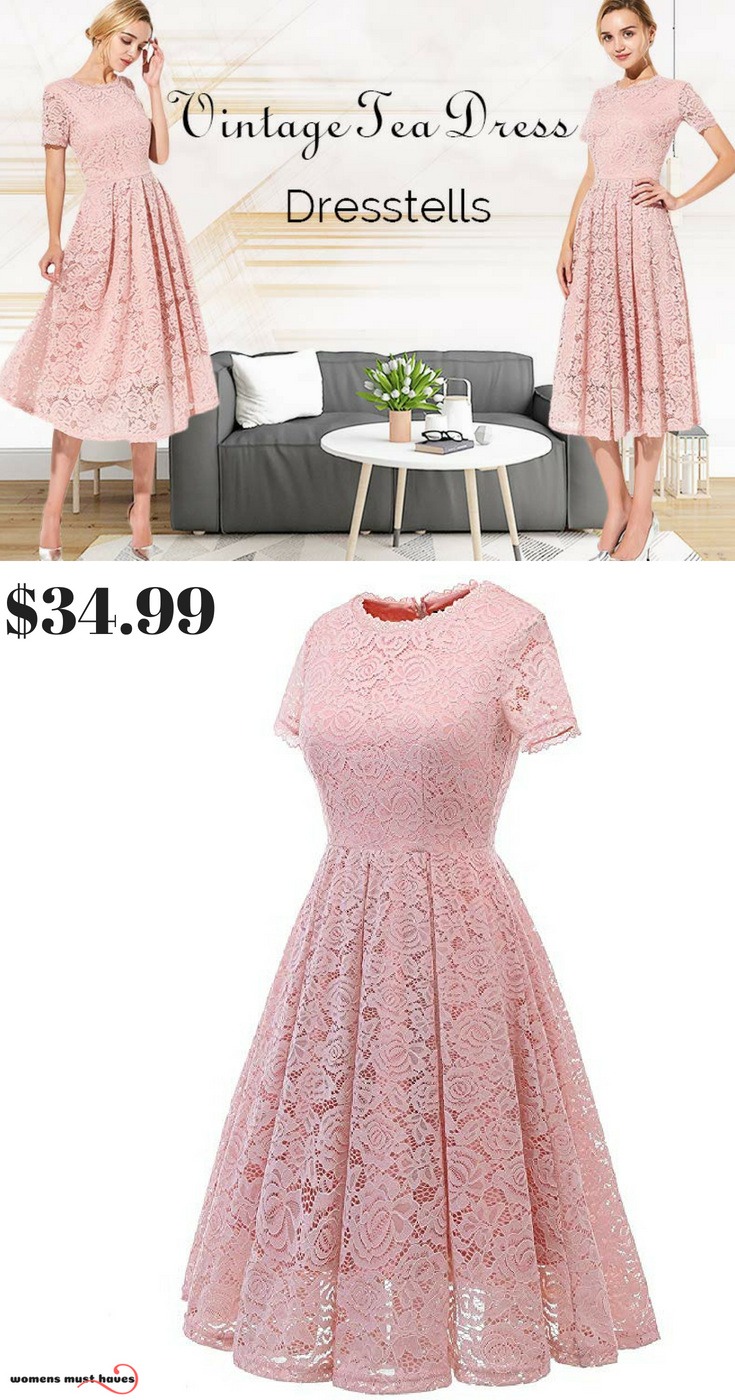 Start With This Simple Yet Elegant Retro Lace Swing Dress Which