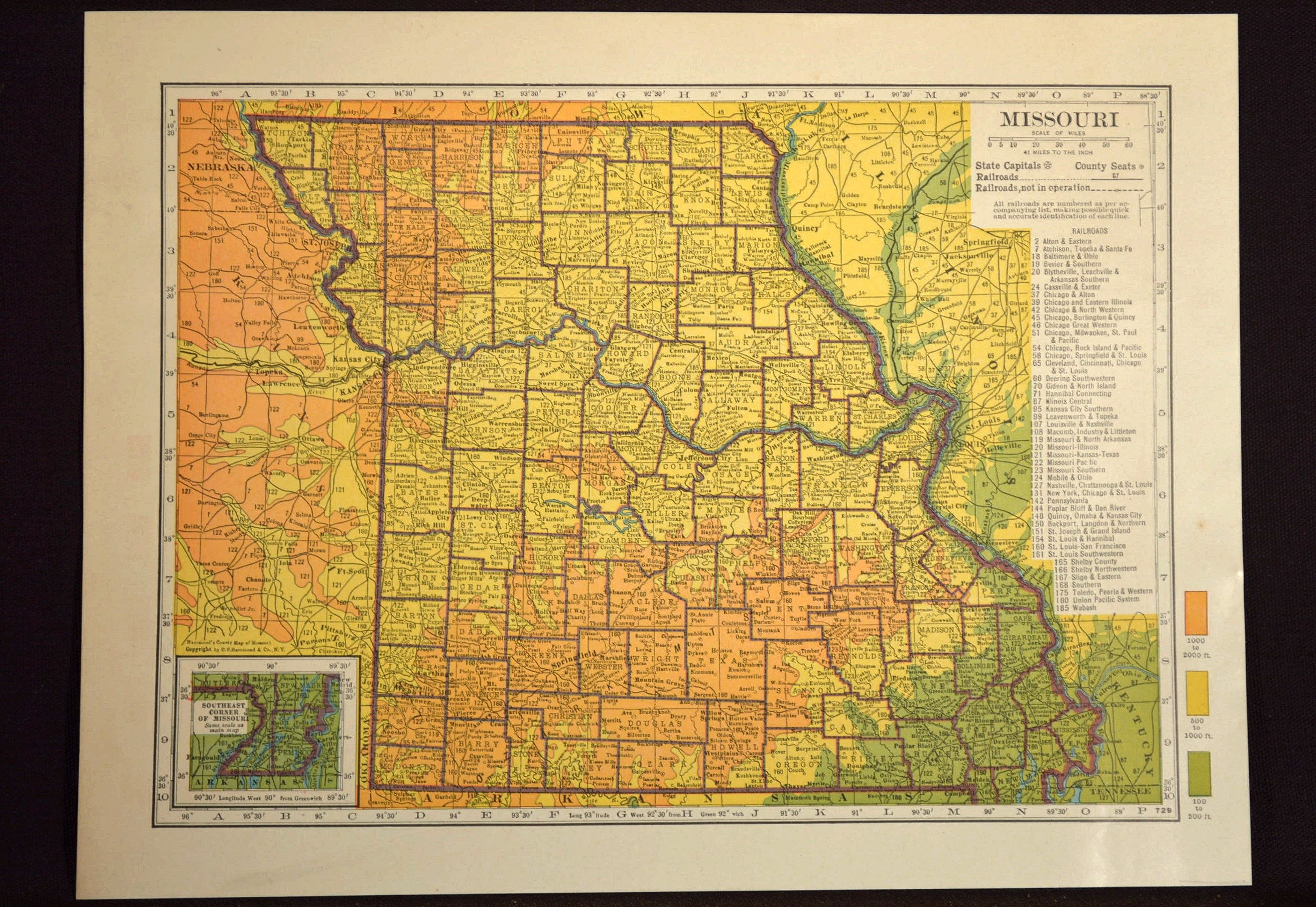 Missouri Map Missouri Topographic Map Colorful Colored Topo | Map ...