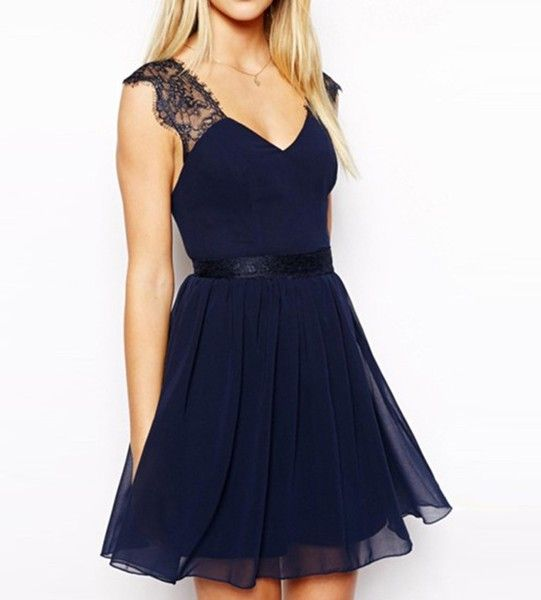 Sexy Party Blue Lace Backless Dress from PIXYLEG by DaWanda.com