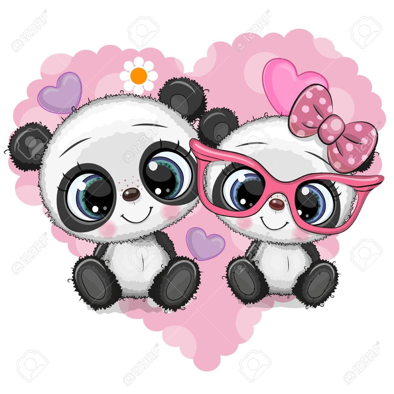 Two Cute Cartoon Pandas On A Heart Background Sponsored Cartoon Cute Pandas Background Heart Cute Panda Wallpaper Cute Panda Cartoon Cartoon Panda