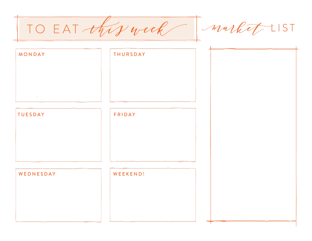 Meal Planning |free printable Joanna Gaines Magnolia market