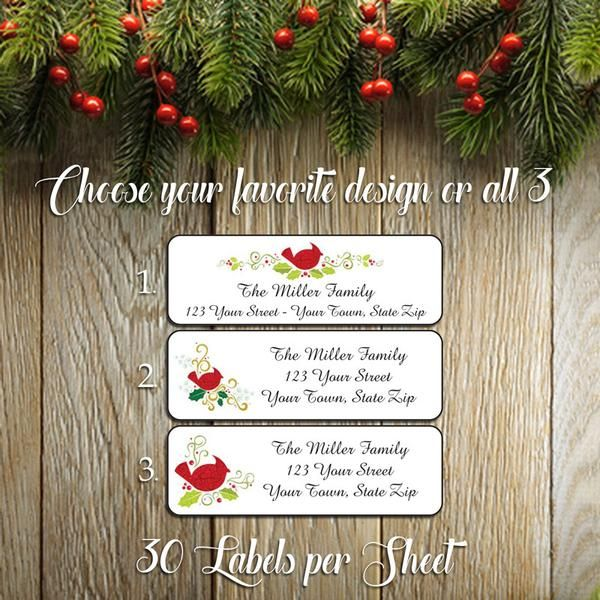 christmas cardinals return address labels j s graphics holiday