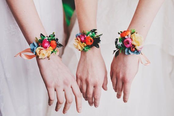 Colorido de la flor de la pulsera de la boda del Verano pulsera Floral de la pulsera de la Pulsera Pulsera de cinta de raso de novia Pulsera de dama de honor