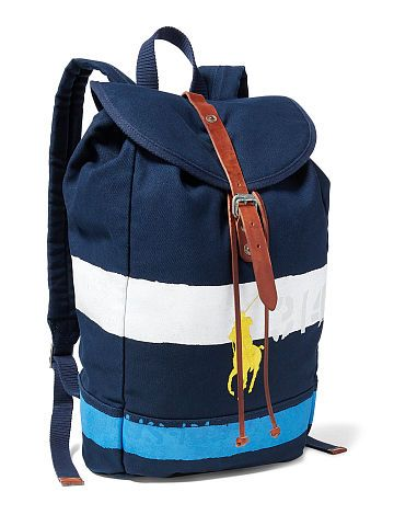 Polo Ralph Lauren Striped Canvas Backpack - Polo Ralph Lauren Backpack - Ralph  Lauren France f6cbb0e2305