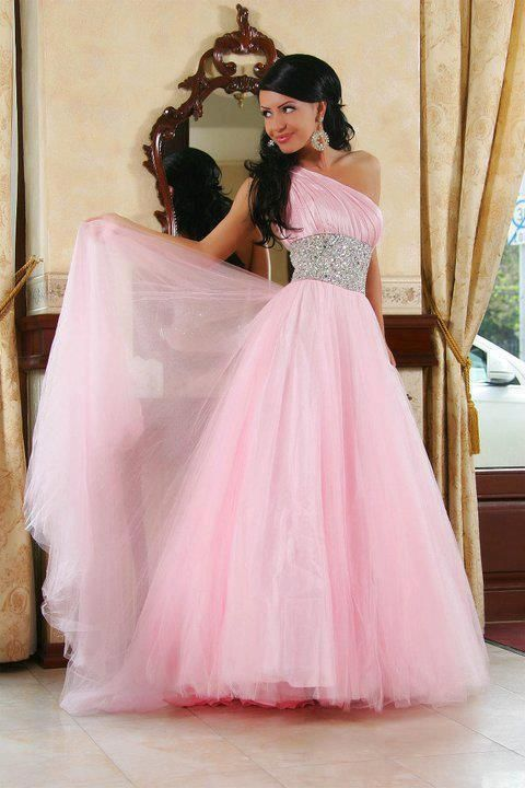 Pink long one shoulder prom dress ... | Ropa | Pinterest | 15 años ...