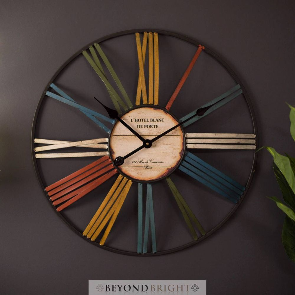 Am americana country wall clocks - Large Wall Clock 60cm Classic Roman Metal Industrial Rustic Vintage Provincial