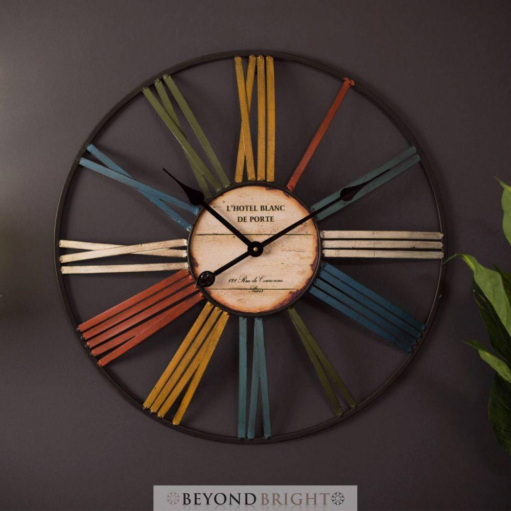 large wall clock rainbow vintage rustic 60cm round decor on wall clocks id=99982