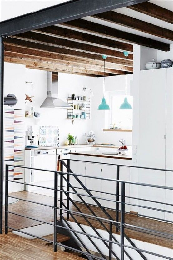 cool 36 inviting kitchen designs with exposed wooden beams