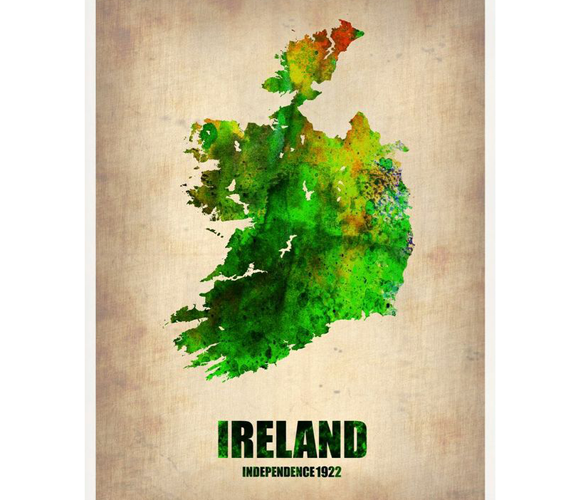 Ireland Watercolor Art - this would be nice to have in the loungeroom. Some framed wall art.