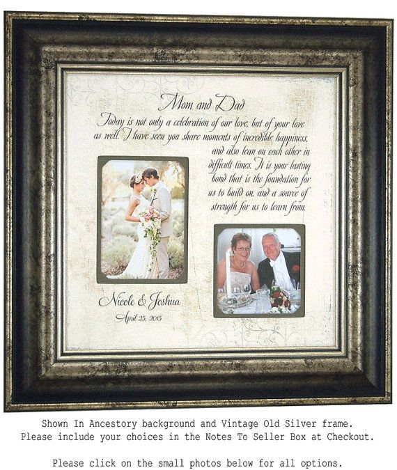 Wedding Gifts for Parents Mother of the by PhotoFrameOriginals ...