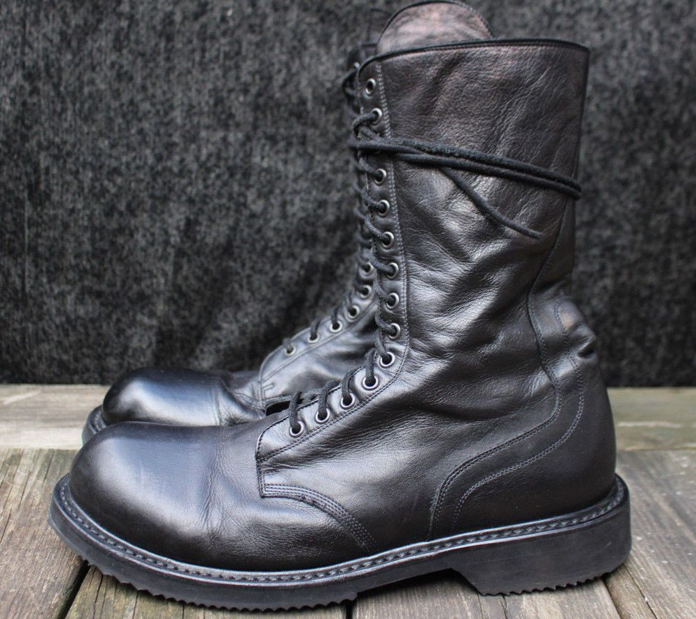 6618b2541f274e Mens Rick Owens Combat Zip Boots Black Leather 13 51500 Italy Shoes 46   RickOwens  Military