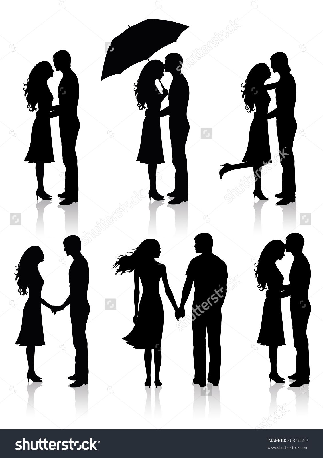 Different Silhouettes Of Couples