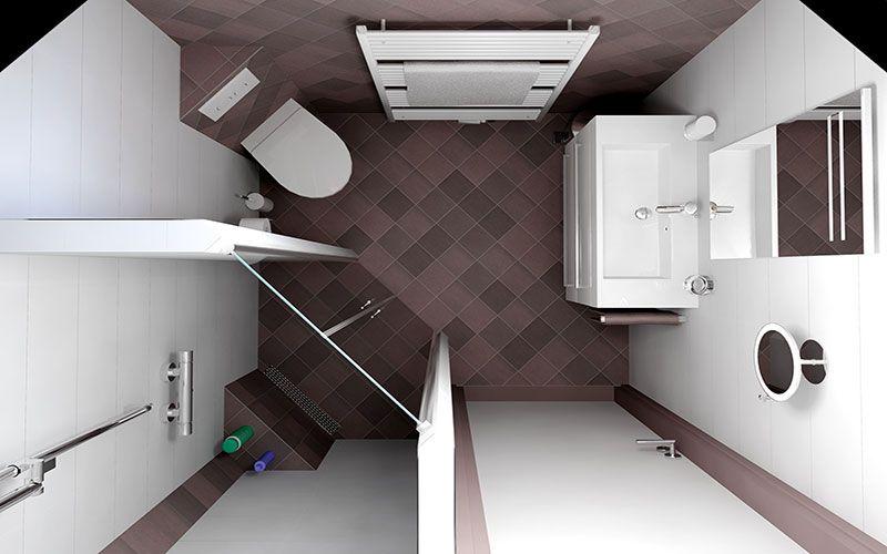 Kleine badkamer ontwerpen 190x185cm gratis 3d for Badkamer zelf ontwerpen
