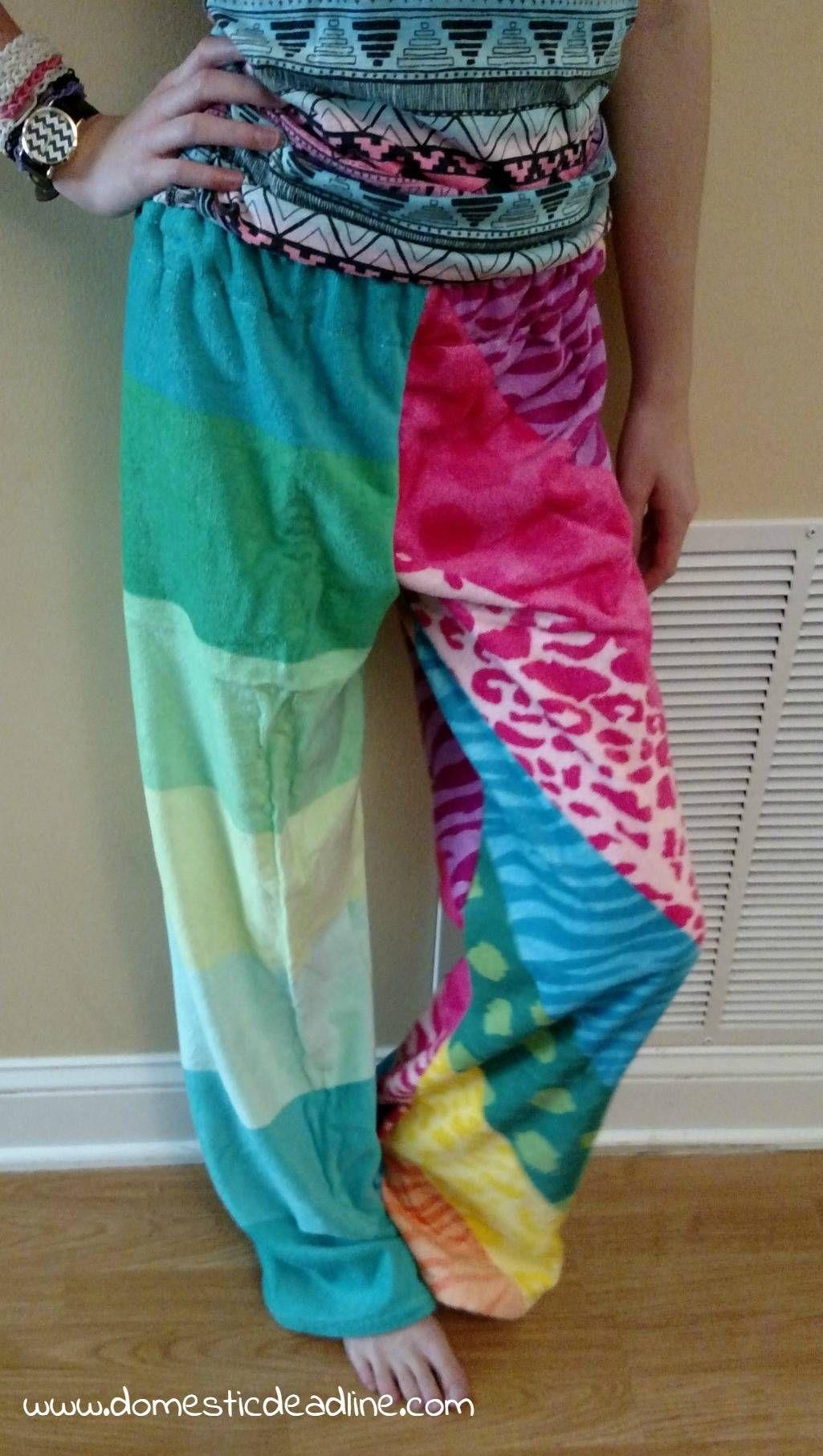 5966cebdcd DIY Towel Pants | Sewing | Sewing pants, Pants, How to hem pants