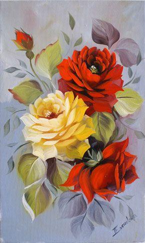 Rosas Amarelas E Vermelhas Telas Pinturas De Flores Flores
