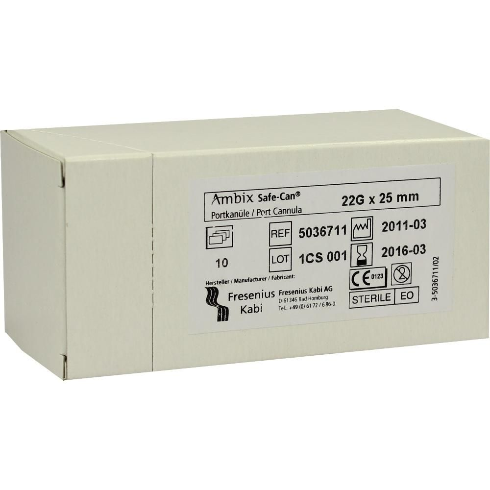 AMBIX Safe Can Portpunkt.Kan.22 Gx25 mm gerade:   Packungsinhalt: 10 St Kanüle PZN: 02762174 Hersteller: Fresenius Kabi Deutschland GmbH…