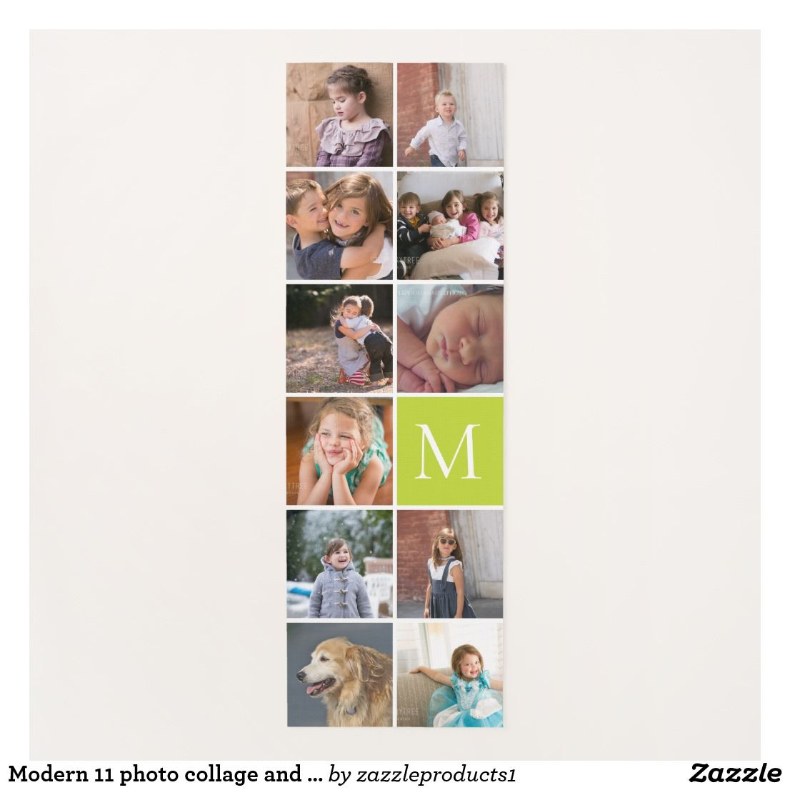 Modern 11 Photo Collage And Monogram Yoga Mat Zazzle Com Photo Collage Photo Custom Yoga Mat