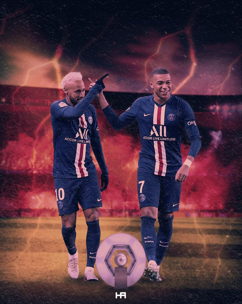 Neymar and Mbappé PSG in 2020 Neymar, Football poster