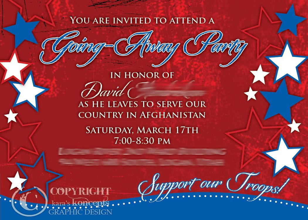 Military Going Away Party Ideas  This Is An Invite I Did For A