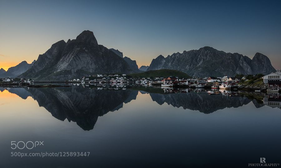 This is what I feel looking at this picture of Reine reflecting in the still fjord water. What an incredible quiet evening it was!