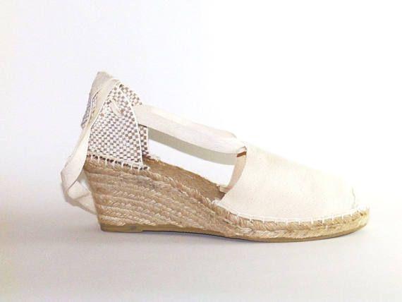 a1e047ffab26 Lace up bridal wedding wedges espadrilles Beige Organic cotton ...