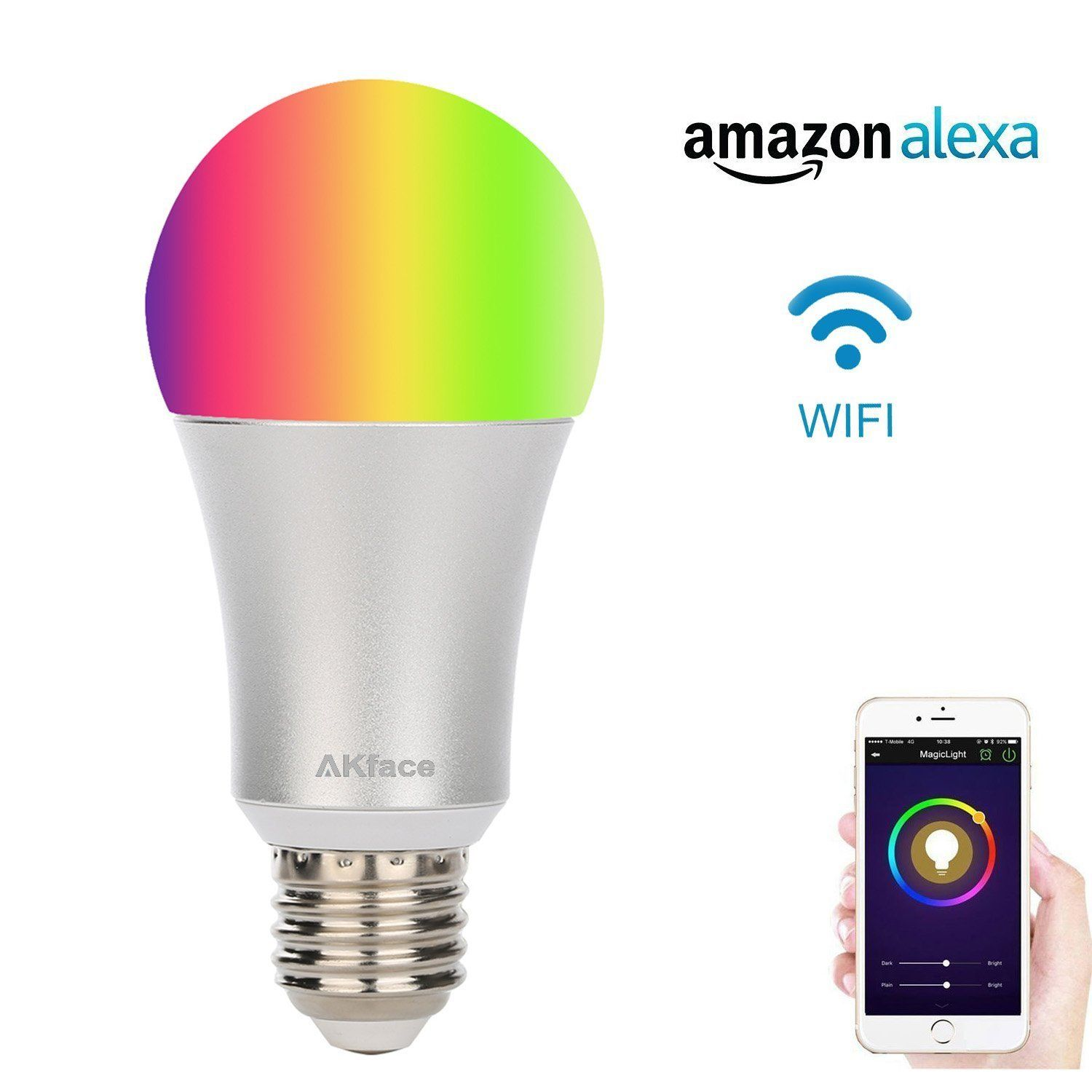 Akface WiFi Smart LED Light Bulb, Multi Color Changing Dimmable, Wireless Remote  Control Works
