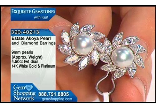 Diamond and pearl earrings. These earrings are beautiful, set with over 4 carats of diamonds and Akoya pearl centers. Wear them with jeans or your favorite evening gown.