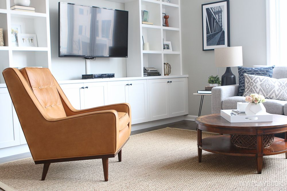 Cognac leather chair for our living room space diy