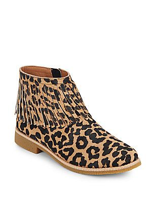 1328cf30e77b8 kate spade new york Betsie Too Fringed Leopard-Print Calf Hair Ankle Boots