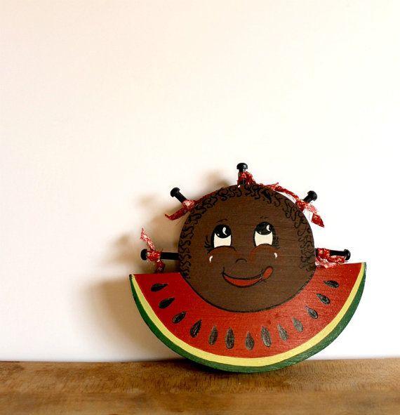 vintage black americana kitchen decor. arts and crafts watermelon