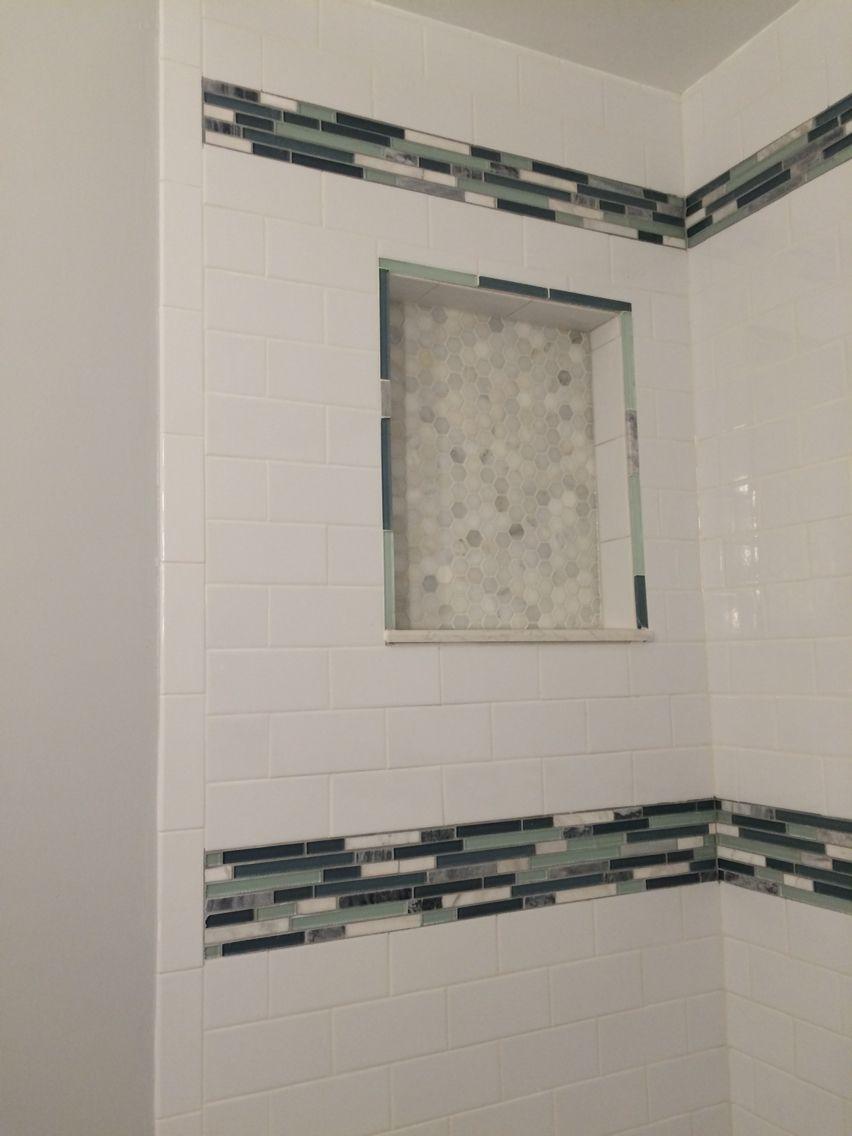 bathroom custom shower marble white hexagon mosaic tile home depot ...