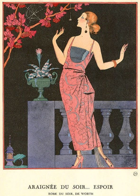 George Barbier 1882 1932 French Art Deco Fashion Illustrator Araignee Du Soir Espoir Robe Du Soir De Worth Art Deco Paintings Art Art Deco Illustration