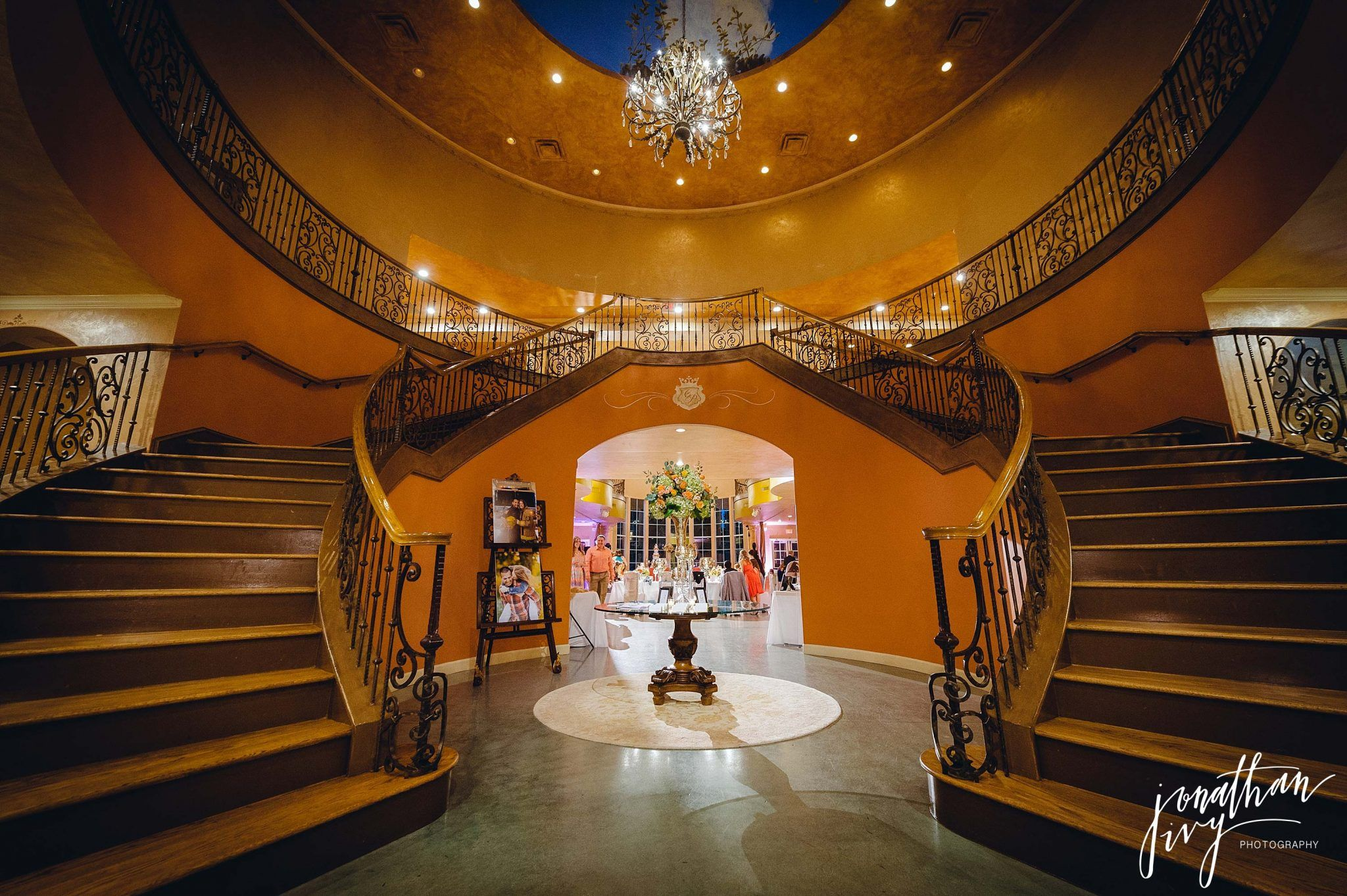 76004279233f Chateau Polonez grand staircase Houston Wedding Venue