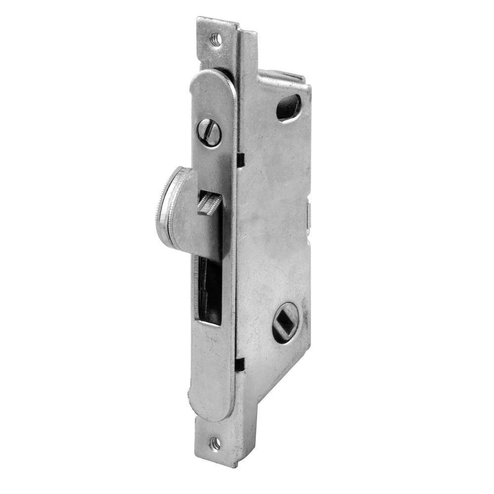 Elegant Prime Line Sliding Door Mortise Lock, 45 Degree, Round Face, Stain/Steel E  2187   The Home Depot